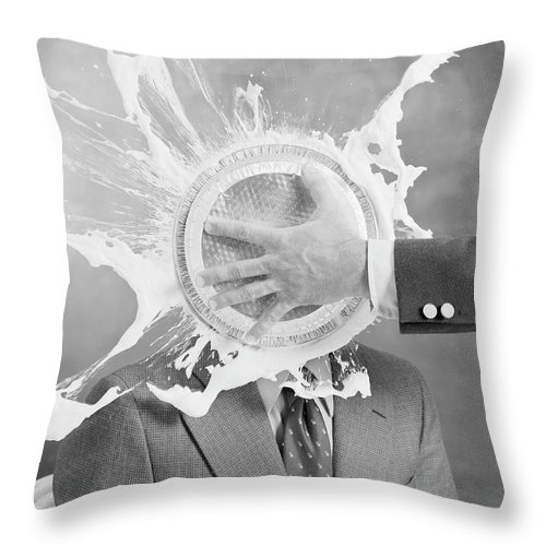 1979 Throw Pillow featuring the photograph Man Smashing Cake On Other Mans Face by Tom Kelley Archive