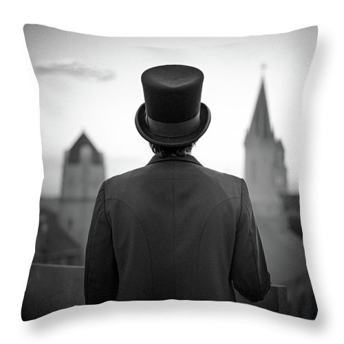 People Throw Pillow featuring the photograph Man Standing Front Of Cathedral by Eddie O'bryan