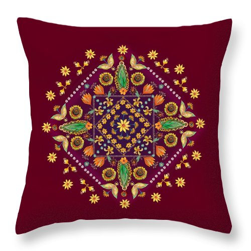 Mandala Throw Pillow featuring the digital art Mandala Flowering Series#2. Terracotta by Elena Kotliarker