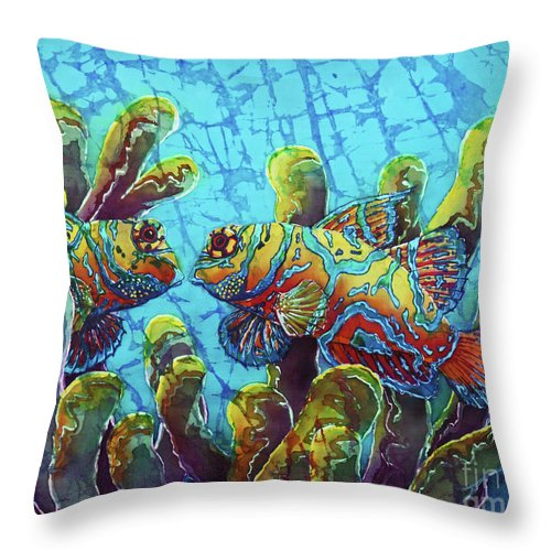 Mandarinfish Throw Pillow featuring the painting Mandarinfish by Sue Duda
