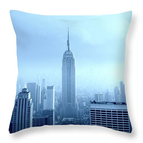 Lower Manhattan Throw Pillow featuring the photograph Manhattan Skyline In The Fog, Nyc. Blue by Lisa-blue