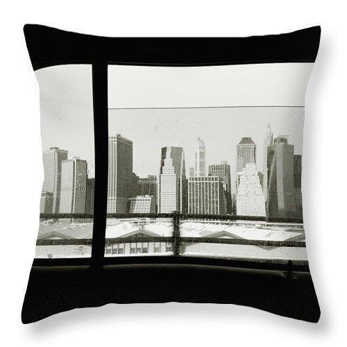 Car Interior Throw Pillow featuring the photograph Manhattan Through Car Window by Matt Carr
