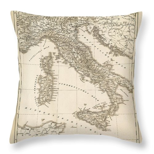 Sicily Throw Pillow featuring the digital art Map Italy 1840 by Thepalmer