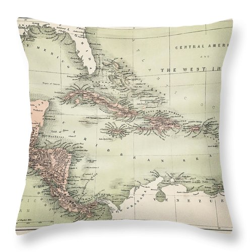 Barbados Throw Pillow featuring the digital art Map Od The Caribbean 1860 by Thepalmer