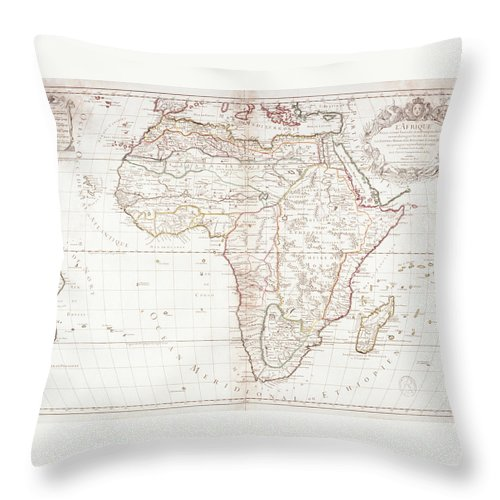 Color Image Throw Pillow featuring the digital art Map Of Africa by Fototeca Gilardi