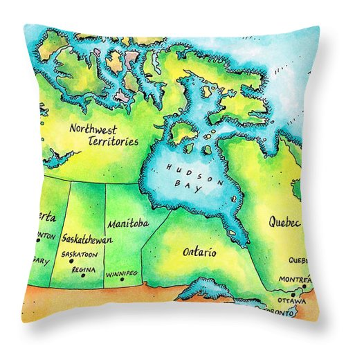Watercolor Painting Throw Pillow featuring the digital art Map Of Canada by Jennifer Thermes