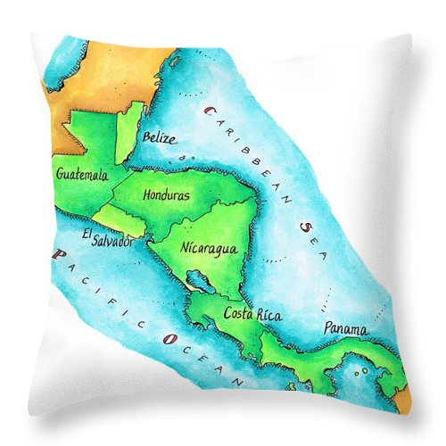 Watercolor Painting Throw Pillow featuring the digital art Map Of Central America by Jennifer Thermes