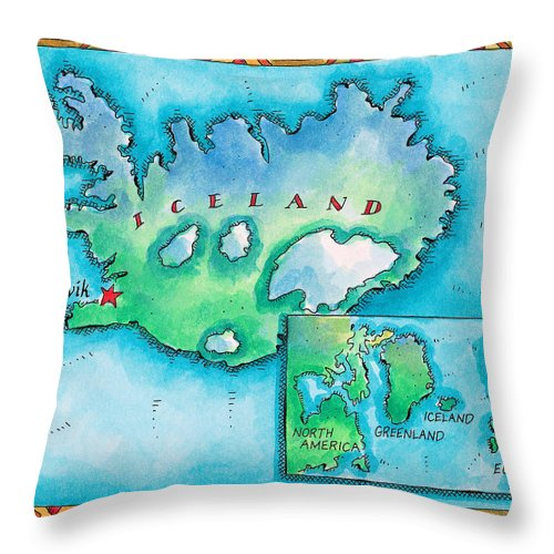 Watercolor Painting Throw Pillow featuring the digital art Map Of Iceland by Jennifer Thermes