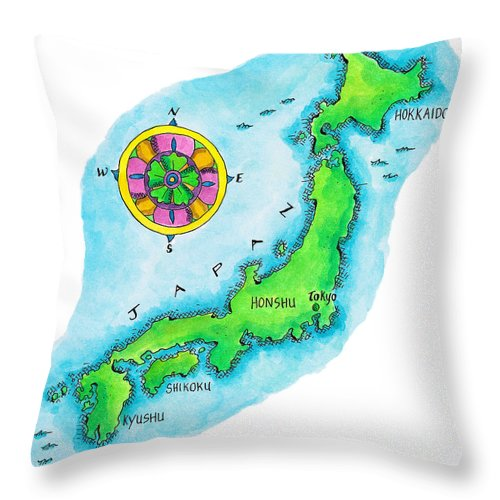 Hokkaido Throw Pillow featuring the digital art Map Of Japan by Jennifer Thermes