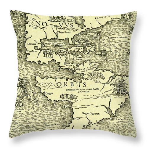 The New World Throw Pillow featuring the drawing Map Of New World From Geographia Universalis Vetus Et Nova Complectens by Ptolemy