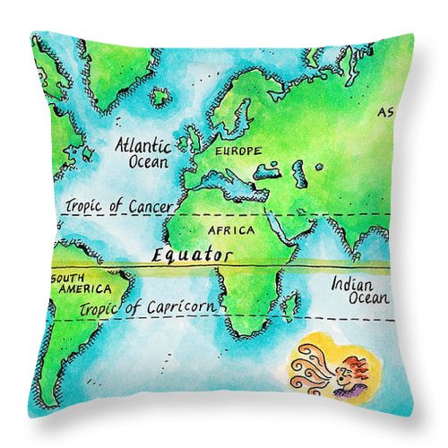 Watercolor Painting Throw Pillow featuring the digital art Map Of The World & Equator by Jennifer Thermes