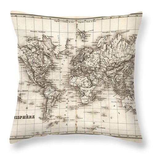 Oceania Throw Pillow featuring the digital art Map Of The World 1842 by Thepalmer