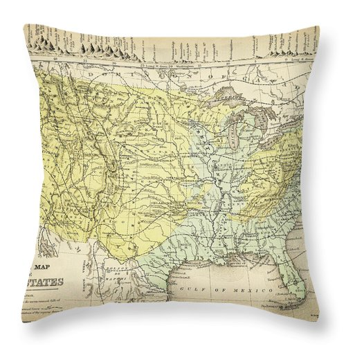 Burnt Throw Pillow featuring the digital art Map Of Usa 1867 by Thepalmer