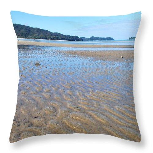 Scenics Throw Pillow featuring the photograph Marahau Beach, The Abel Tasman National by Lazingbee