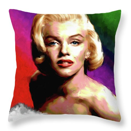 Marilyn Throw Pillow featuring the painting Marilyn Monroe painting by Stars on Art
