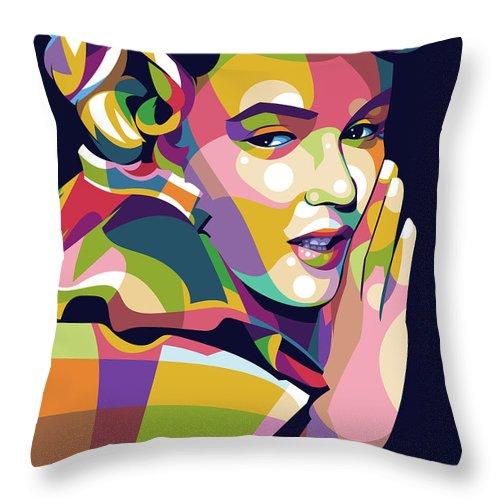 Marilyn Monroe Throw Pillow featuring the digital art Marilyn Monroe pop art by Stars on Art