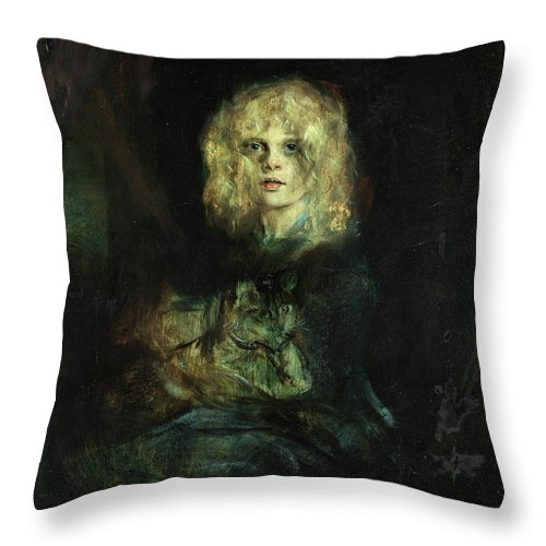 Marion With Cat Throw Pillow featuring the painting Marion With Cat by Franz Seraph von Lenbach