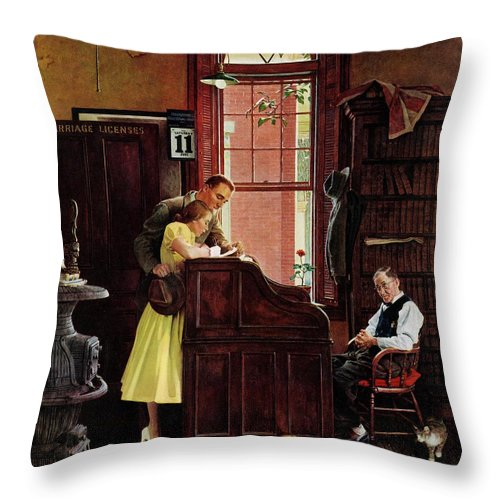 Clerks Throw Pillow featuring the drawing Marriage License by Norman Rockwell