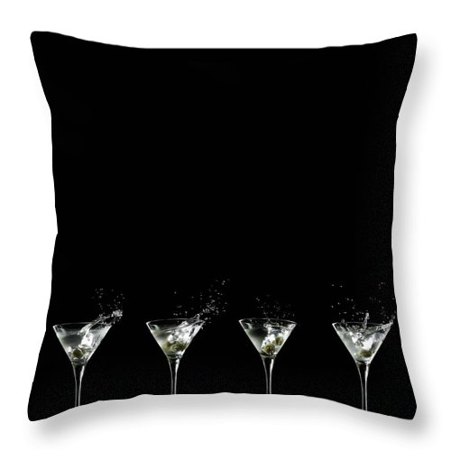 Martini Glass Throw Pillow featuring the photograph Martini Splash by Monica Rodriguez