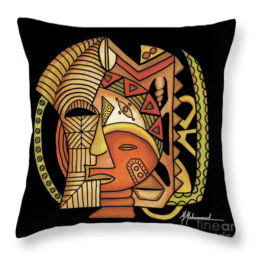 Mask Throw Pillow featuring the painting Maruvian Masks 1 Black by Marcella Muhammad
