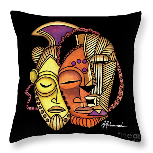 Mask Throw Pillow featuring the painting Maruvian Masks 2 Black by Marcella Muhammad
