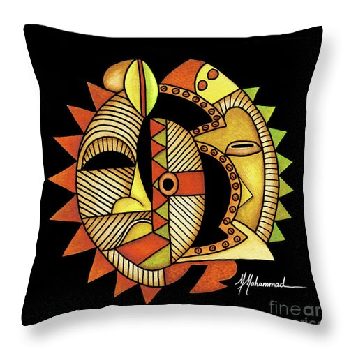 Mask Throw Pillow featuring the painting Maruvian Masks 3 Black by Marcella Muhammad
