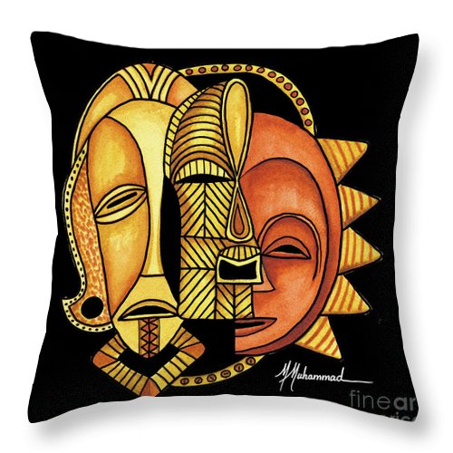 Mask Throw Pillow featuring the painting Maruvian Masks 4 Black by Marcella Muhammad