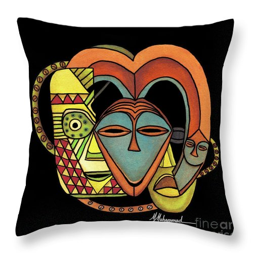 Mask Throw Pillow featuring the painting Maruvian Masks 5 Black by Marcella Muhammad