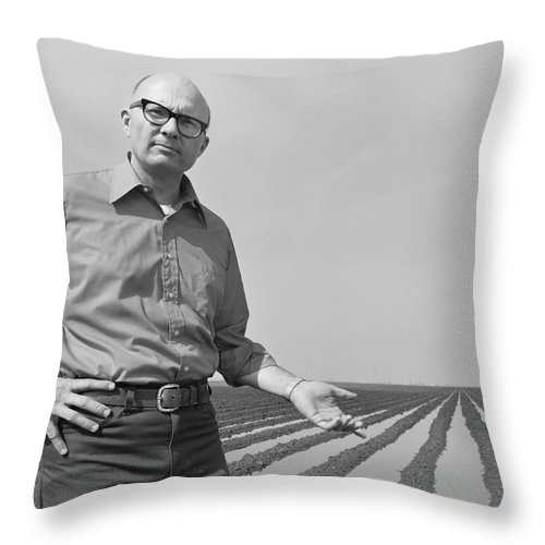 Mature Adult Throw Pillow featuring the photograph Mature Man Gesturing At Ploughed Field by Tom Kelley Archive