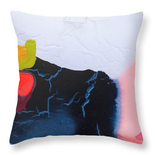 Abstract Throw Pillow featuring the painting Maya 01 by Claire Desjardins