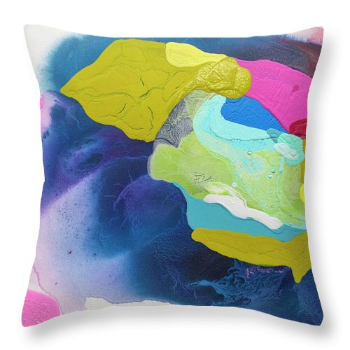 Abstract Throw Pillow featuring the painting Maya 02 by Claire Desjardins