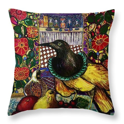 Crow Throw Pillow featuring the painting Medieval dinner by Marilene Sawaf