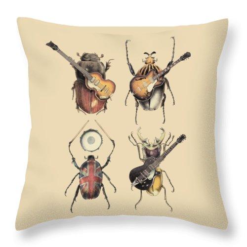 Beatles Throw Pillow featuring the digital art Meet the Beetles by Eric Fan