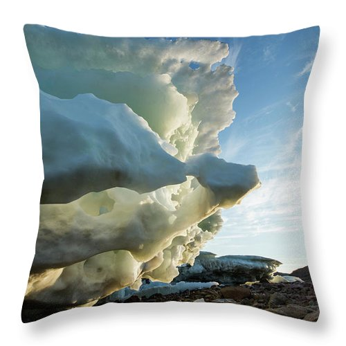 Scenics Throw Pillow featuring the photograph Melting Iceberg, Nunavut Territory by Paul Souders