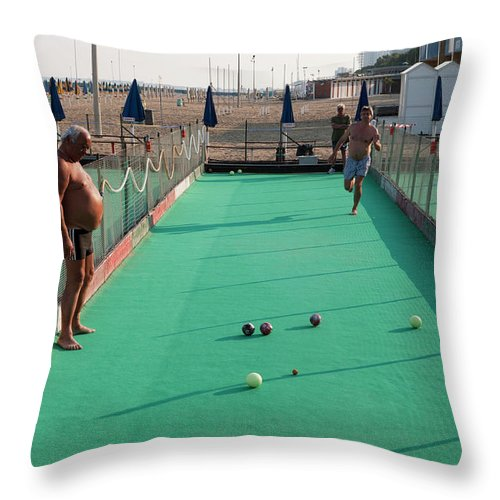 Mature Adult Throw Pillow featuring the photograph Men Play Boccia At Beach by Holger Leue