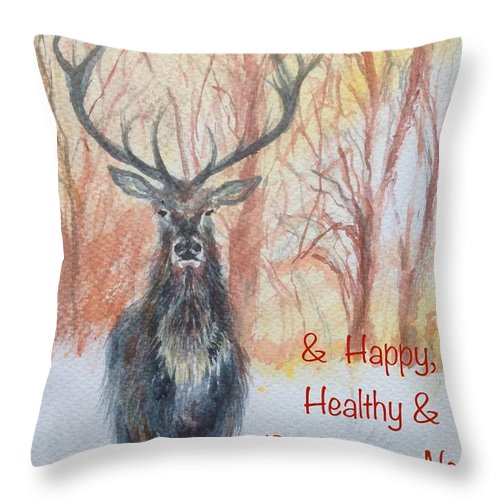 Christmas Throw Pillow featuring the painting Merry Christmas by Lizzy Forrester