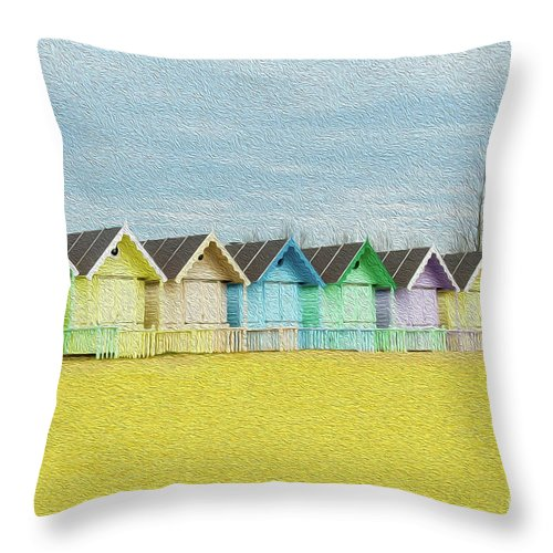 West Mersea Throw Pillow featuring the photograph Mersea Island Beach Hut Oil Painting Look 1 by Jonny Essex