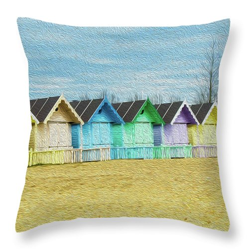 West Mersea Throw Pillow featuring the photograph Mersea Island Beach Hut Oil Painting Look 3 by Jonny Essex