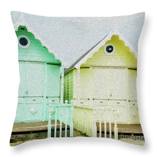 West Mersea Throw Pillow featuring the photograph Mersea Island Beach Hut Oil Painting Look 5 by Jonny Essex