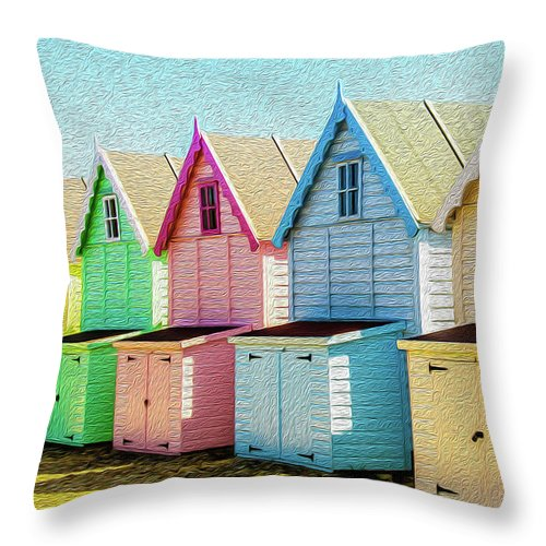 West Mersea Throw Pillow featuring the photograph Mersea Island Beach Hut Oil Painting Look 7 by Jonny Essex