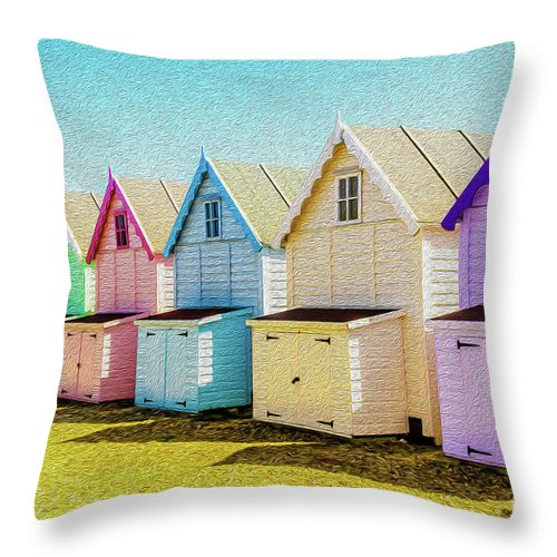 West Mersea Throw Pillow featuring the photograph Mersea Island Beach Hut Oil Painting Look 9 by Jonny Essex