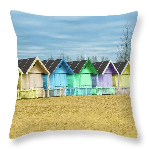 West Mersea Throw Pillow featuring the photograph Mersea Island Beach Huts, Image 3 by Jon Dawrant