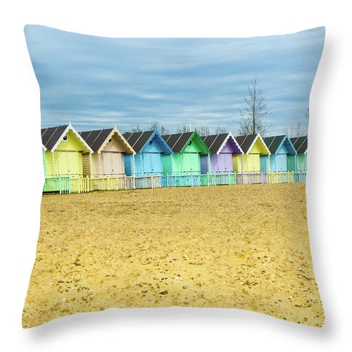 West Mersea Throw Pillow featuring the photograph Mersea Island Beach Huts, Image 4 by Jonny Essex