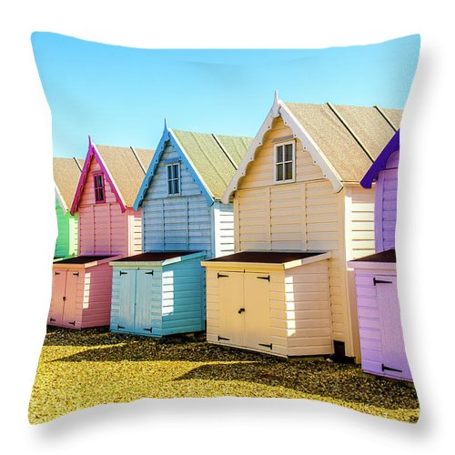 West Mersea Throw Pillow featuring the photograph Mersea Island Beach Huts, Image 9 by Jonny Essex