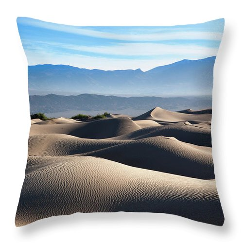 Scenics Throw Pillow featuring the photograph Mesquite Flat Sand Dunes by Walter Bibikow