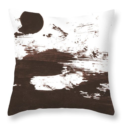 Stained Throw Pillow featuring the photograph Messy Tan Brown Paint Mess by Kevinruss