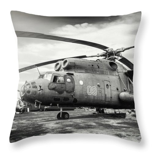 Riga Throw Pillow featuring the photograph Mi-6 Helicopter Riga Latvia Black And White by Carol Japp