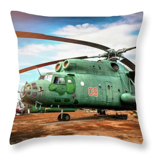 Riga Throw Pillow featuring the photograph Mi-6 Helicopter Riga Latvia by Carol Japp