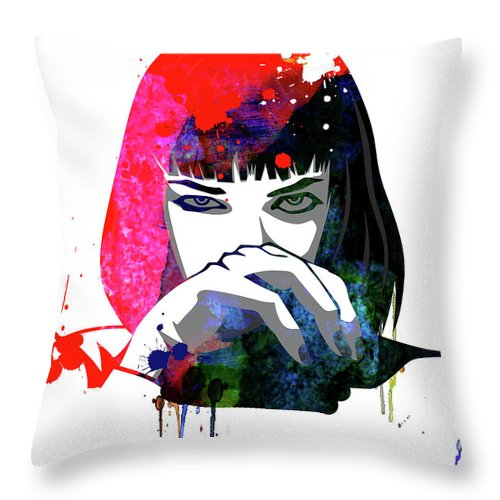 Movies Throw Pillow featuring the mixed media Mia Snorting Watercolor by Naxart Studio