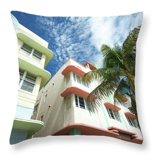 Architectural Feature Throw Pillow featuring the photograph Miami Art Deco Drive Architecture Blue by Peskymonkey